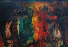 "Nasirun – ""Larut dalam Warna"" (145x145 cm_Oil on Canvas_1997)."